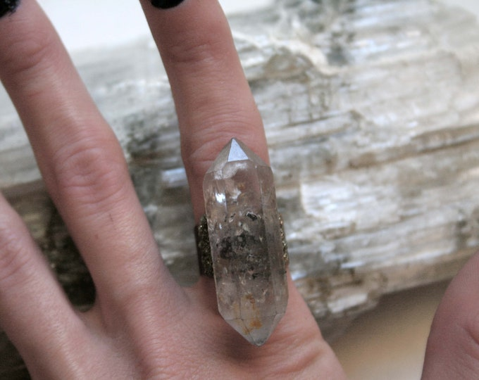 Tibetan Clear Quartz Crystal Ring