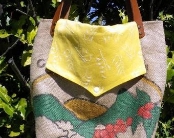 Shoulder tote bag, tote bag with flap, burlap coffee bag.