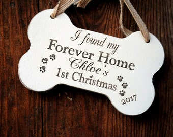 Dog First Christmas Ornament - Rescue Dog Christmas Ornament - Forever Home Christmas Ornament - Adopted Dog's First Christmas Dog Ornament