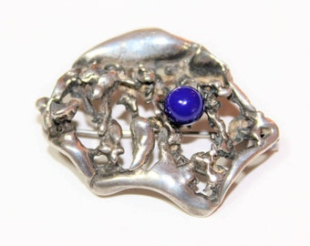 Hallmarked Sterling Silver Blue Lapis Lazuli Abstract Vintage Brooch (Birmingham Import 1996)