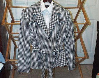 Women's Black and White Houndstooth Jacket Fall Fashion