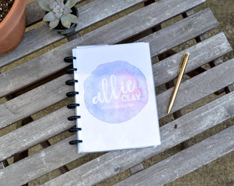 "Custom Planner – 8.5""x6.25"", Personalized, Disc Bound, Watercolor Pink/Lavender Cover"