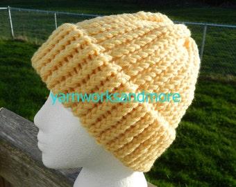 Yellow Knit Hat, Winter Hat, Knit Hat, Loom Knit Hat, Yellow Hat, Yellow Beanie, Yellow Knit Cap, Warm Hat, Unisex Hat, Gifts Under 20