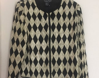 Vintage Laurence Kazar Harlequin Gold and Black Jacket