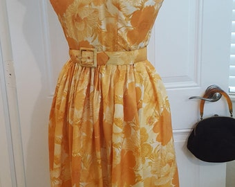 Vintage Late 1950s Early 1960s Silk Orange Floral Dress