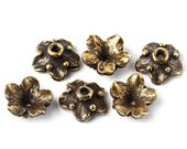 Floral bead caps set nature, flower, 12mm, antique brass handmade jewelry findings L0516(6). Designed and made by Anna Bronze.