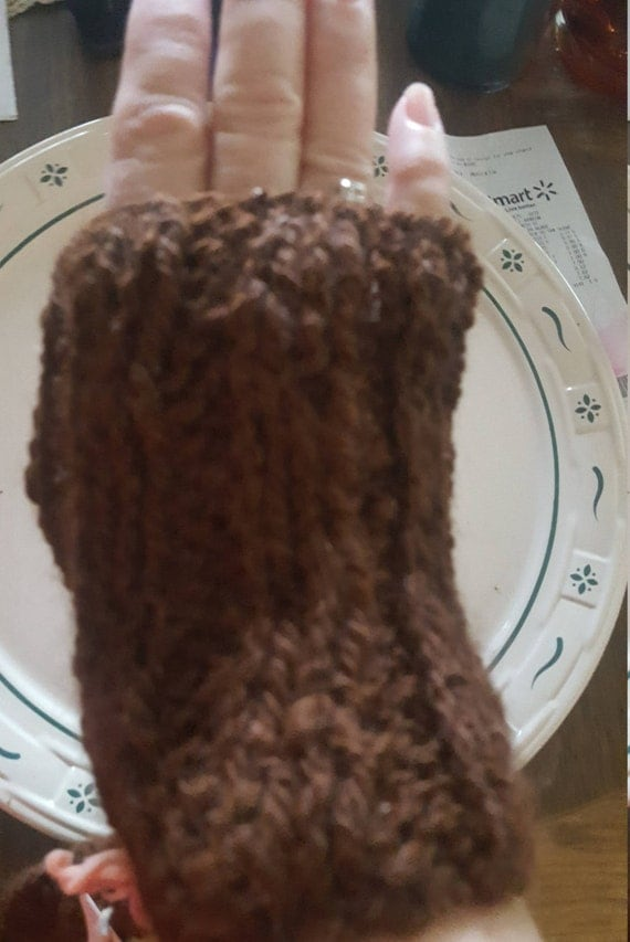 Homemade Finger less Alpaca Gloves, Dark Brown, Pick one size, Med. or Large.