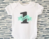 First Birthday Bodysuit, Mint and White - Unisex Birthday Onesie,  1 Today Bodysuit, Cake Smash Outfit, Birthday Babygrow, Birthday Tshirt