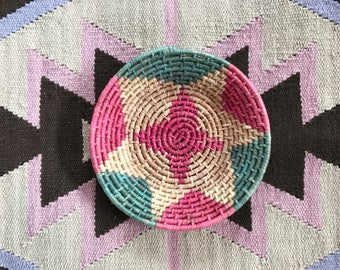 Colorful Coil Basket // Vintage // Wall Decor // Ethnic // Bohemian // Tan // Pink // Green