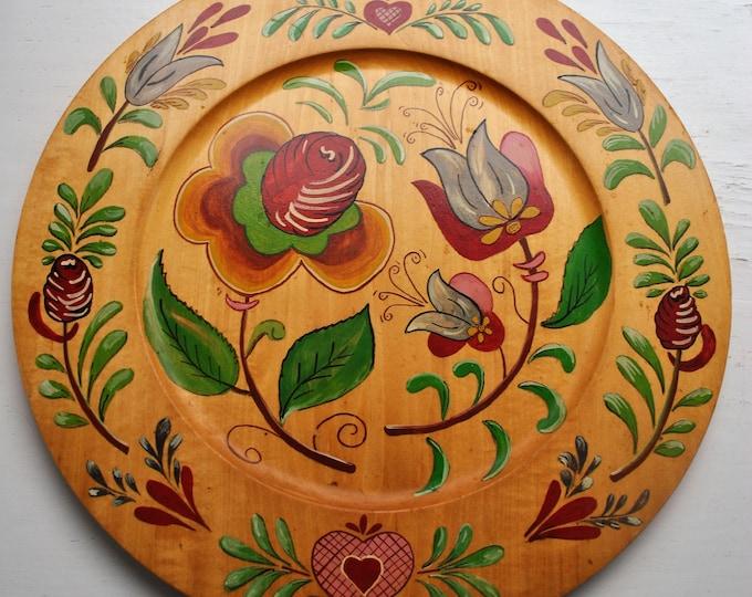 Vintage Scandinavian Folk Art Wood Plate Rare
