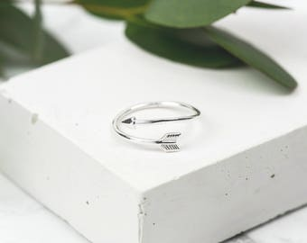 Sterling Silver Arrow Ring • Adjustable Ring • Dainty Silver Ring • Wraparound Arrow • Arrow Jewellery • Dainty Sterling Silver Ring
