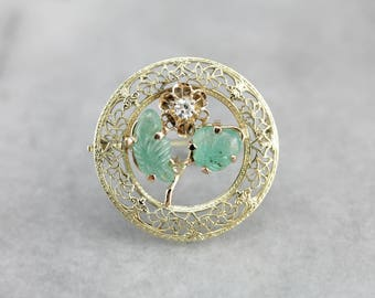 Floral Diamond and Emerald Gold Filigree Brooch 6282K5-D