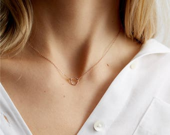 Dainty Rose Gold Necklace, Delicate Open Circle, Rose Gold Karma, 14k Gold Fill, Sterling Silver or Rose Gold / Layering Necklace LN_132