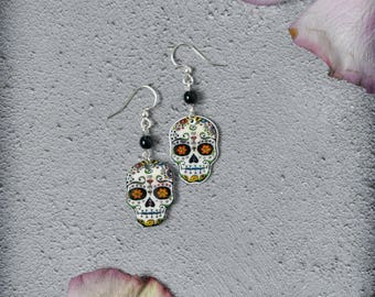 Doodle Skull Sugar Skull Earrings in a Selection of Colors Day of the Dead Halloween OOAK Handmade Jewelry