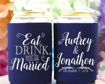 Eat Drink and Be Married Can Cooler - Wedding Favor - Beverage Insulator - Beer Can Holder - Reception Favors - Bridal Shower Favors