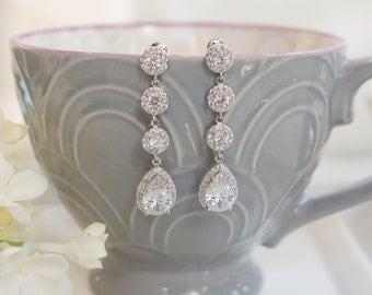 Long Earrings | Bridal Earrings | Bridesmaid Earrings | Wedding Jewelry | Rose Gold Earrings | Yellow Gold Earrings | Dangle Earrings
