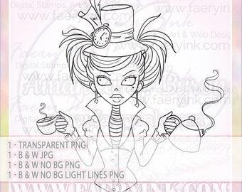 Ophelia in Wonderland Mad Hatter UNCOLORED Digital Stamp Image Adult Coloring Page jpeg png jpg Craft Cardmaking Papercrafting DIY