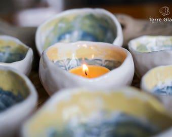 ceramic lanterns holder, white porcelain, small bowl, organic, photophore, candle, votive, engraving, organic, yellow and blue, handmade