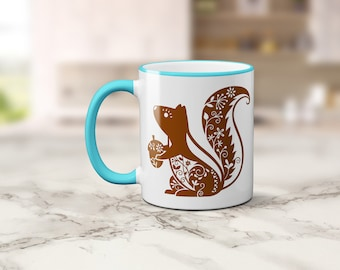 Whimsical Squirrel Coffee Mug, Coffee Cup, Cute Squirrel Mug, Sublimated 11 oz Colored Handle & Rim 4 Colors