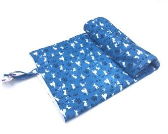 Blue Bunny Blanket - Newborn Blanket - Bunny Baby Shower - Stroller Blanket - Baby Boy Nursery - Neutral Baby Blanket - Girl Blanket