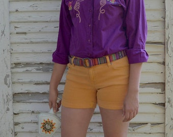 Vintage Wrangler Authentic Western Shirt Purple with Embroidered Cactus Boots Lasso Size M; FREE Shipping U.S.A.