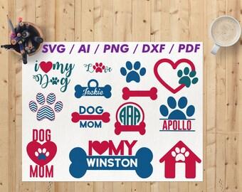 Dog svg  / Dog svg files / Dog cricut svg / Dog svg cut file / Dog monogram svg / Dog paw svg / Dog mom svg / Dog silhouette svg Dxf Png Eps