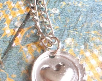 Wax Seal Love Pendant, Contemporary Wax Seal Necklace, Sterling Silver Heart Wax Seal Necklace!
