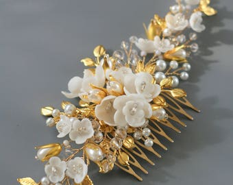 Gold leaf Wedding hair comb Bridal hair comb Bridal hair accessories Gold Wedding hair accessories Gold Bridal headpiece Gold comb
