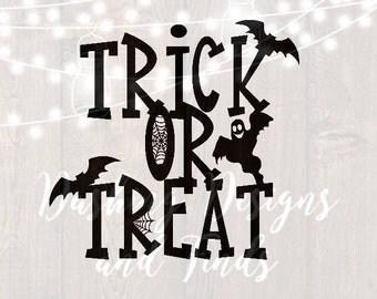 DIGITAL DOWNLOAD halloween svg witch svg trick or treat svg spider web svg cut files silhouette cricut witch svg bat svg halloween shirt