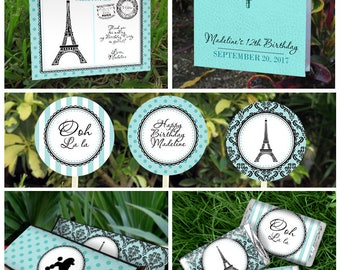 Paris Party Printable Collection & Invitations - Paris Birthday Kit - INSTANT DOWNLOAD - Edit and Print at home with Adobe Reader