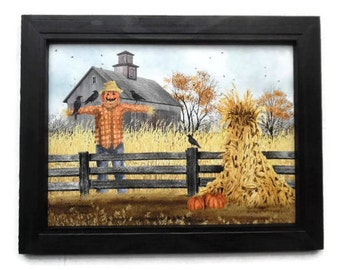 Scarecrow Picture, Scatterbrains, Billy Jacobs Print, Autumn Decor, Country Decor, Wall Hanging, Handmade, 19x15 Wood Frame, Made in USA