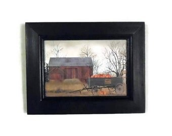 Pumpkin Wagon, Billy Jacobs, Framed Print, Wall Hanging, Seasonal Decor, Home Decor, Handmade, 9x7, Custom Wood Frame, Made in the USA