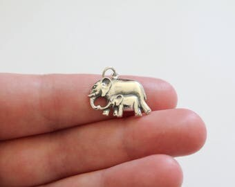 Sterling Silver Mom and Baby Elephant Pendant, Mama and Baby Elephant Charm, Elephant Pendant, Baby Elephant Charm, Elephant Pendant,