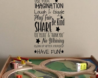 Family Playroom Rules Vinyl Decal