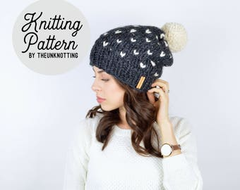 PATTERN // The Mountaineer Hat // Chunky Knit Fair Isle Beanie Pattern