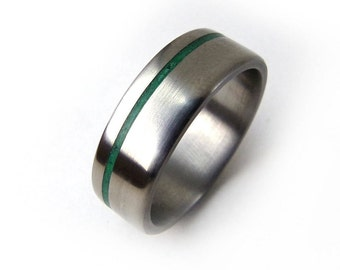Malachite Ring, Green Ring, Green Jewelry, Green Titanium Ring, Simple Ring Band, Simple Design