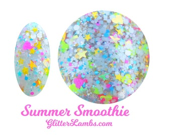 Summer Smoothie Nail Polish-Glitter Lambs Nail Polish-Summer Smoothie Glitter Topper Nail Polish-Handmade Custom Glitter Nail Polish