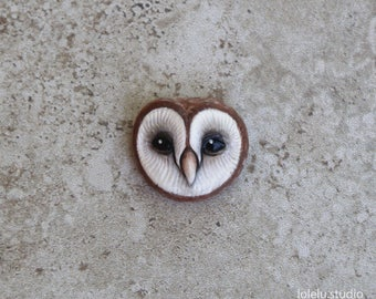 One Little Barn Owl Face Cabochon - Hand Painted Clay Cab - Brown White Polymer Clay Focal - Jewelry Supplies