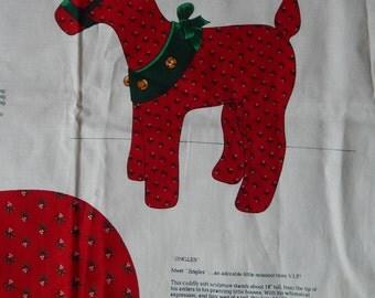 "Reindeer Christmas Fabric Panel for 18"" Jingles the Reindeer/ VIP Print Cranston/ Soft Sculpture, Centerpiece, Cut, Sew & Stuff, Decoration"