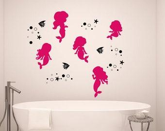 Mermaid Wall Decal - Mermaids and Bubbles - Starfish Wall Decals - Girls Room Wall Decor - Nursery Wall Decal - Mermaid Wall Art