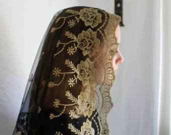 Evintage Veils~ Our Lady of Guadalupe Floral Gold & Black Embroidered (Short) D Shaped Veil~  Soft and Light!