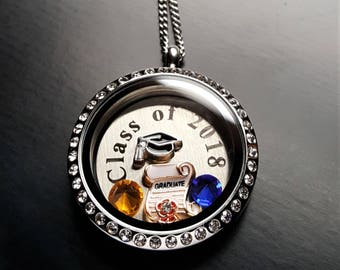 Class of 2018 Graduation Floating Locket Necklace-Personalize w/School Colors-Great Gift Idea
