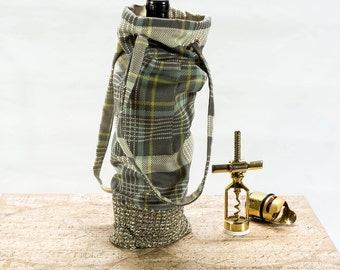 Plaid Wine Bag, Traveling Wine Bag, Wine Tote, Custom Wine Bag for Wine Lovers