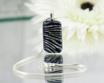 Small Fused Glass Pendant - Black and Silver Zebra Stripe Dichroic Glass Pendant - Glass Necklace - Fused Glass Jewellery. JBT519