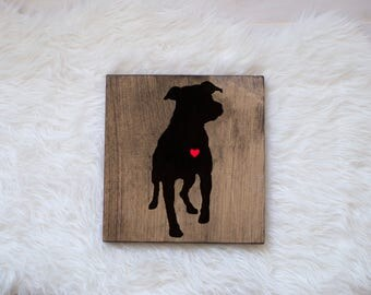 Hand Painted Pitbull Silhouette on Stained Wood, Dog Decor, Dog Painting, Gift for Dog People, New Puppy Gift, Housewarming Gift