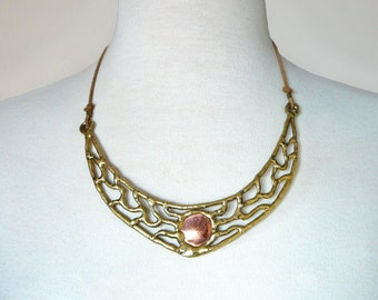 Vintage 70's Boho Large Crescent Filigree Brass & Copper Statement Necklace