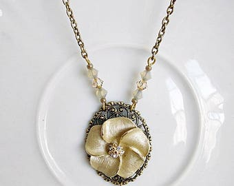 Flower Pendant, Flower Necklace, Floral and Rhinestone Necklace, Gold Flower Pendant, Bride's Necklace,Floral Jewelry, Wedding Jewelry