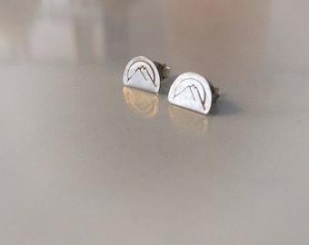 West Coast Mountain Stud Earrings || Sterling Silver, Hand Stamped, Handmade