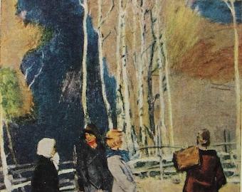To school - Artist V. Tyulenev - Vintage Soviet Postcard, 1966. Children Girls Boys Village Nature Landscape Art Print