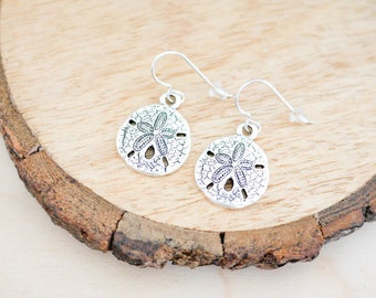 Silver Sand Dollar Earrings • Sterling silver, jewellery, gifts for her, ocean, sea, seaside, winter sun, jewelry, christmas girlfriend wife